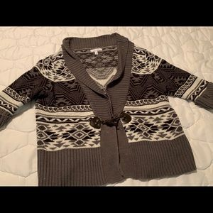 Delia's Fair Isle 3/4 Sleeve Cardigan Sweater